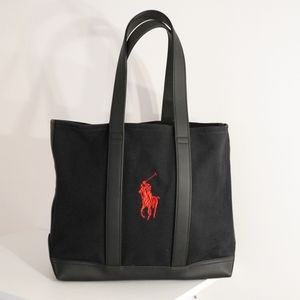 Polo Ralph Lauren Black Canvas & Red Logo Tote Bag
